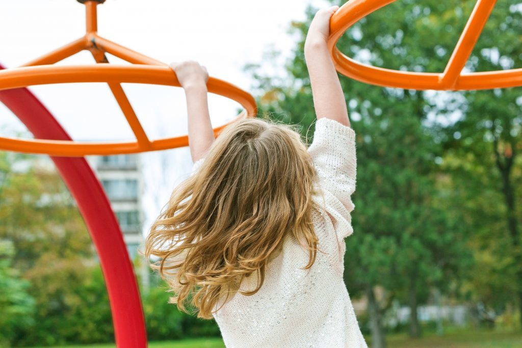 Female child on play equipment at playground location