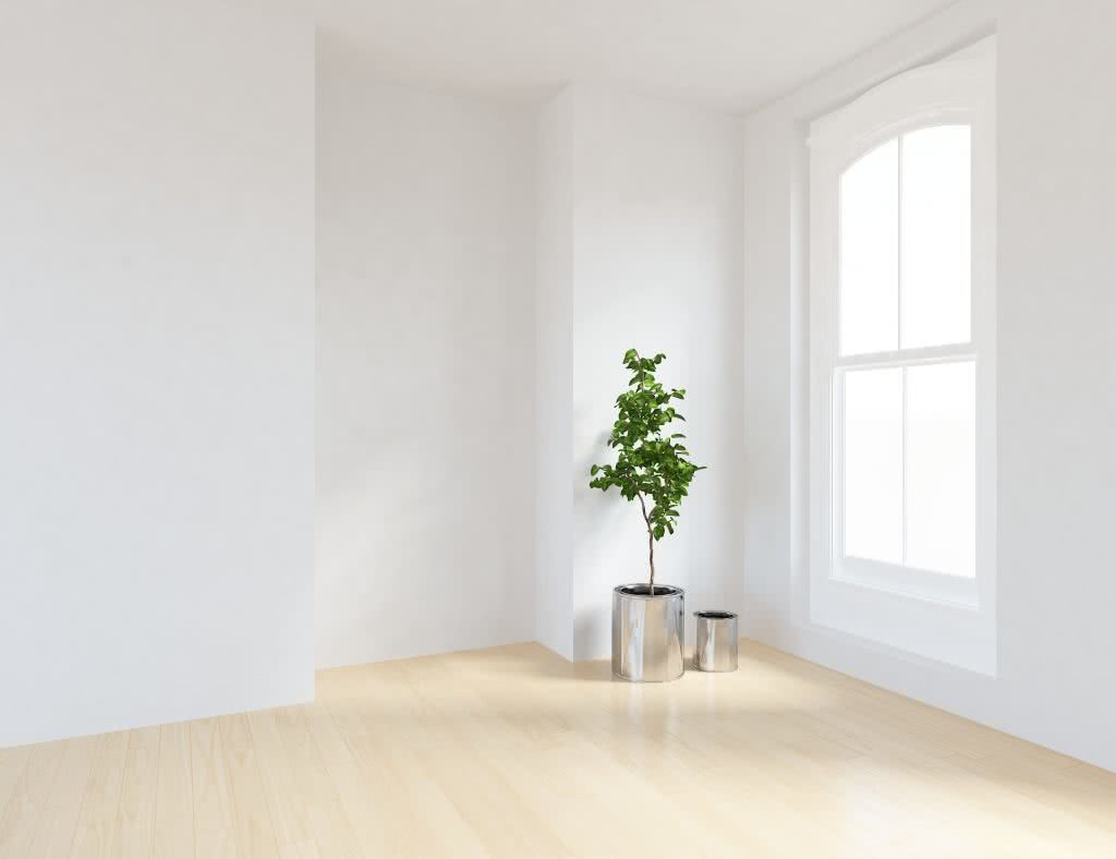 A bright, white finished room after building a new home