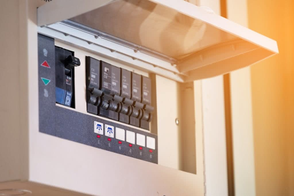 Close-up of an electrical switchboard, as part of home building process