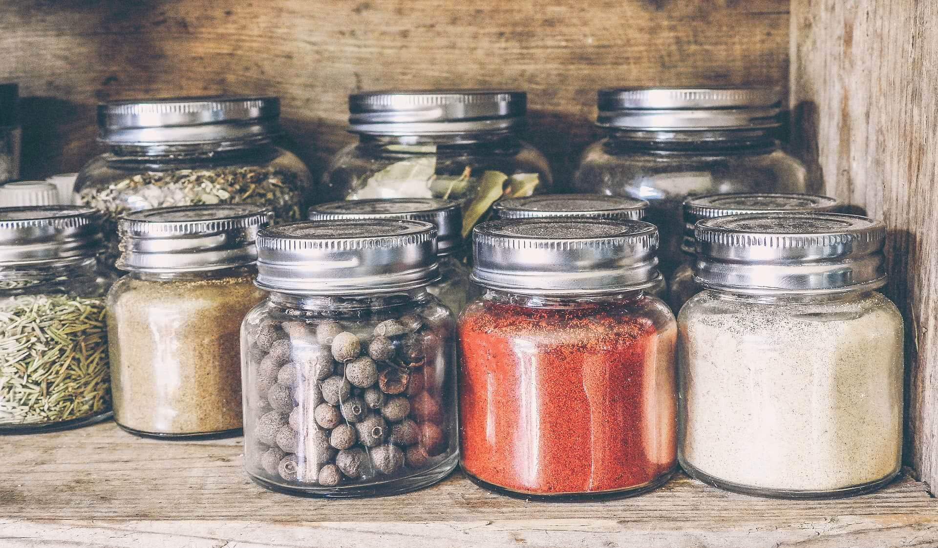Group of spice jars